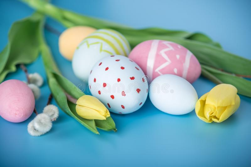 Colorful Easter eggs with yellow Tulip hand painted on a blue background. Holiday spring card stock photography
