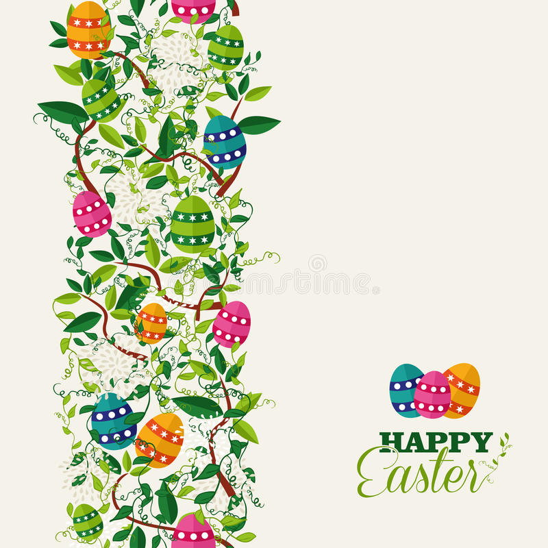 Colorful Easter greeting card. Cute colorful Easter seamless pattern with flowers and colors eggs. EPS10 file organized in layers for easy editing stock illustration
