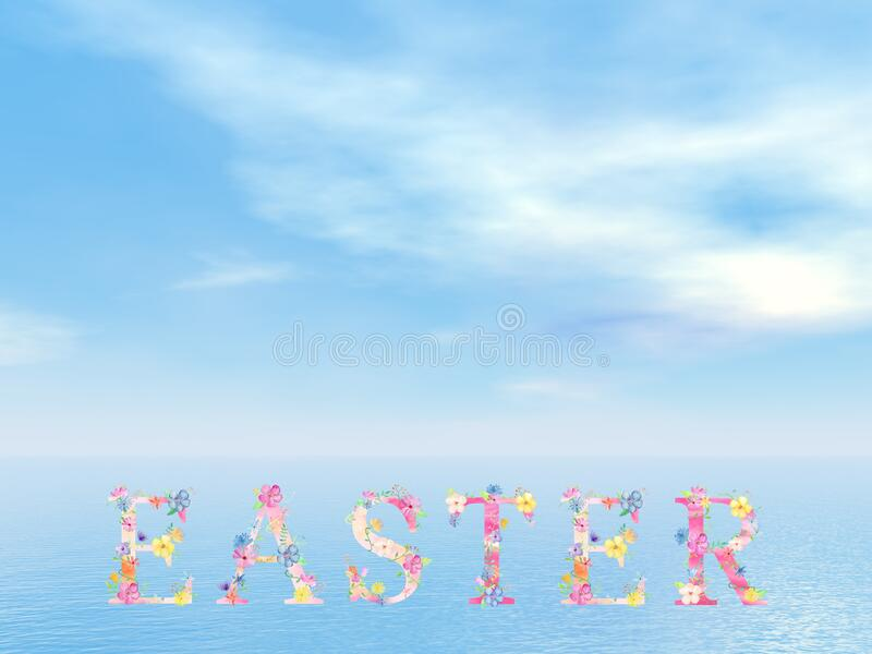 Colorful Easter text word by beautiful day - 3D render vector illustration