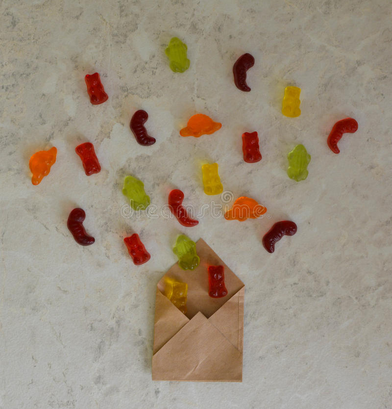 Colorful eat gummy bears jelly candy background royalty free stock photography