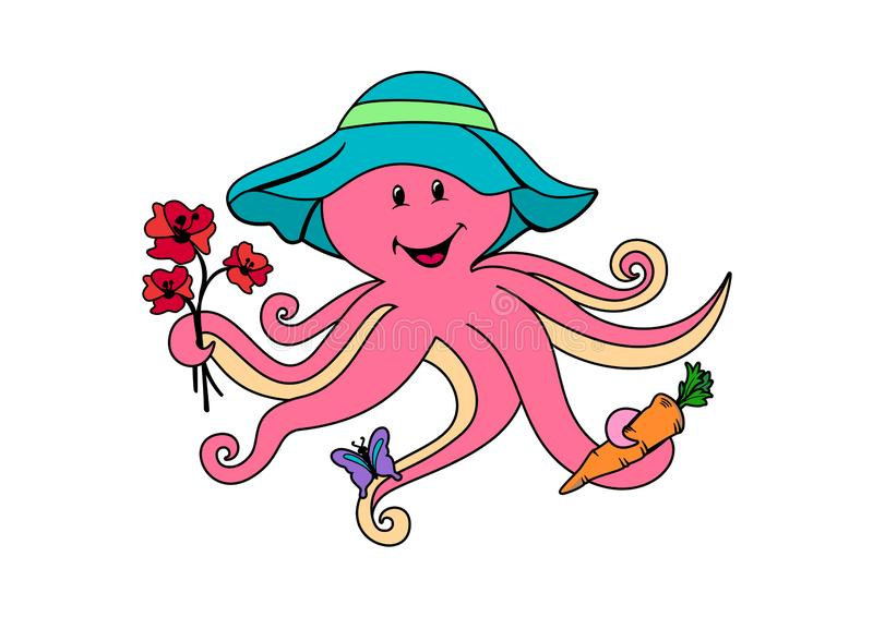Cute Octopus Cartoon Character with flowers, butterfly and carrot vector illustration