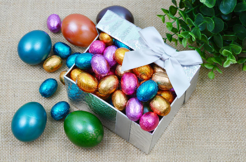 Colorful egg. Close up from colorful egg in the gift box for valentine and Easter royalty free stock photography