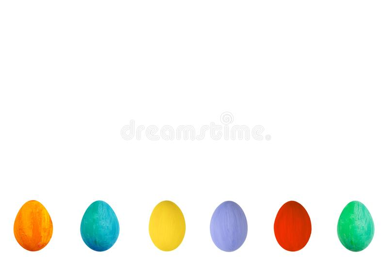 Colorful Egg on isolated white background. Happy Easter Handmade painted color Egg macro, set. royalty free illustration