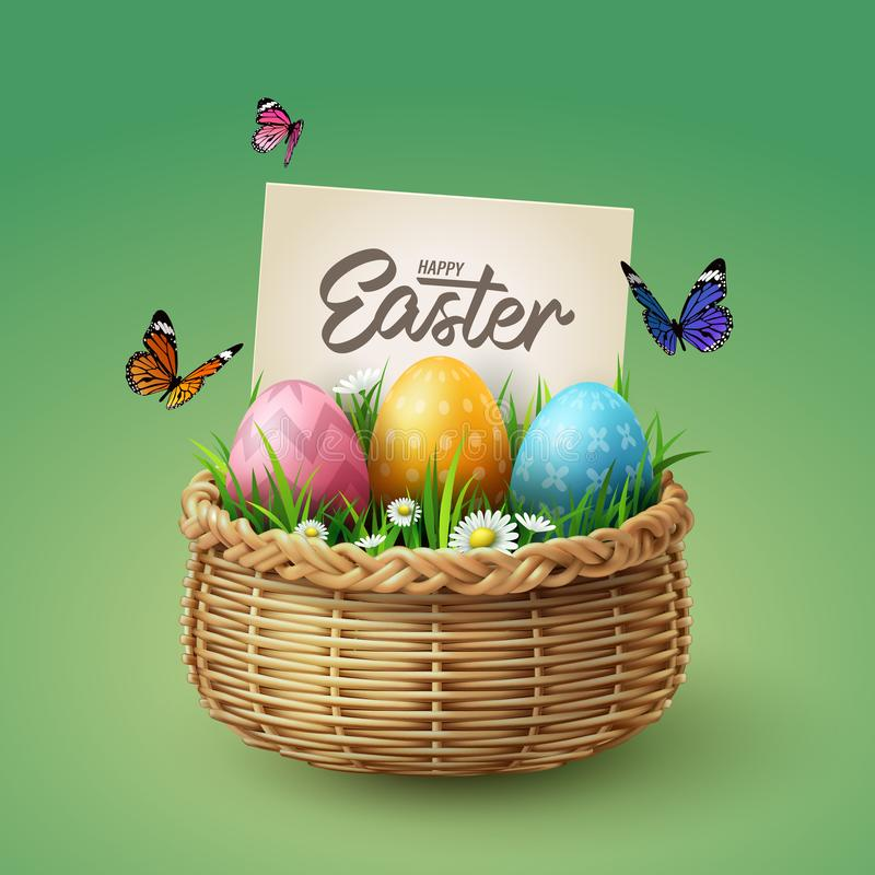 Colorful eggs in basket with butterfly and grass with happy Easter calligraphy hand lettering, Easter celebration concept royalty free stock photo