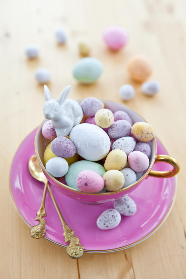 Colorful eggs for a happy easter royalty free stock photos