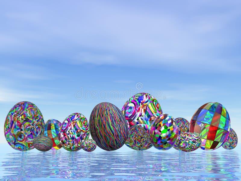 Colorful eggs for easter - 3D render royalty free illustration