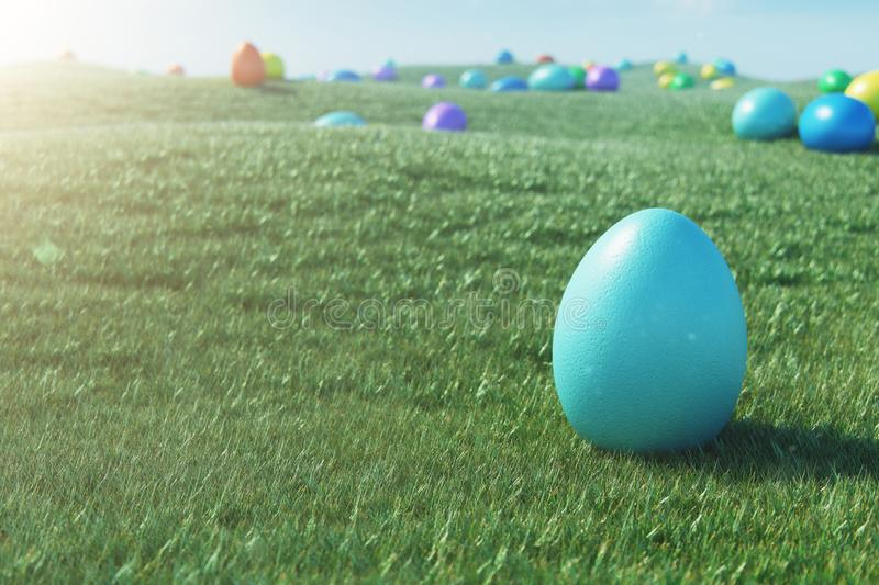 Colorful eggs in a meadow on a sunny day against the blue sky. Multicolored painted easter eggs on grass, lawn. Concept vector illustration