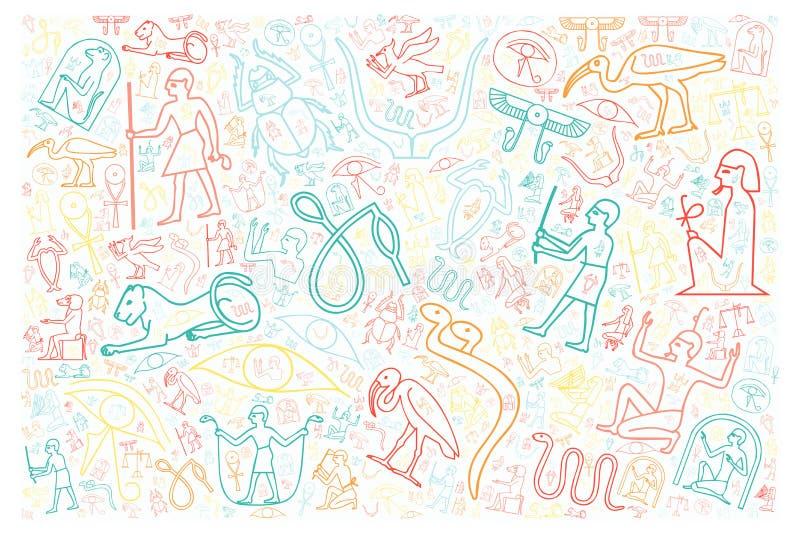 Colorful egyptian hieroglyphics royalty free illustration