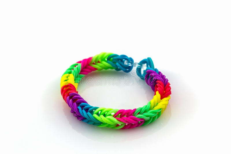 Colorful of elastic rainbow loom bands. stock photos