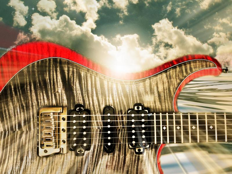 Colorful Electric Guitar Sunrise or Sunset with Clouds and Ocean royalty free stock photo