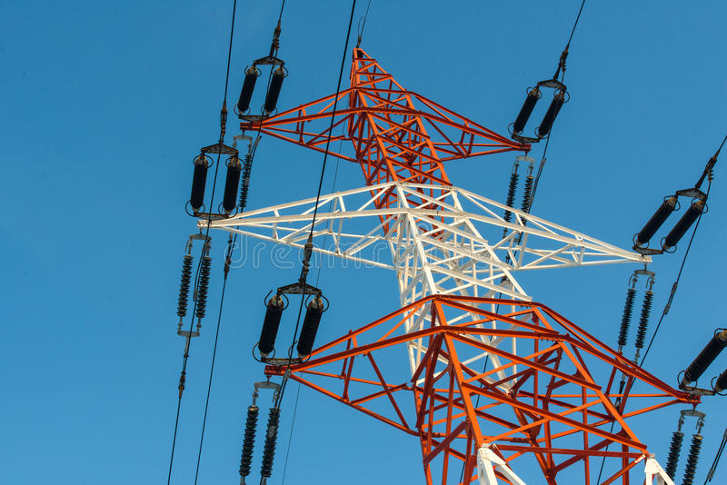 Download Colorful Electricity Pillar Against Blue Sky Stock Photo - Image of high, electricity: 28357786