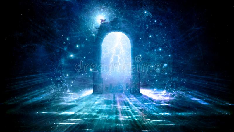 Colorful Electrifying Gate That Leads to Another Dimension. Colorful electrifying gate in space that leads to another dimension in space stock illustration
