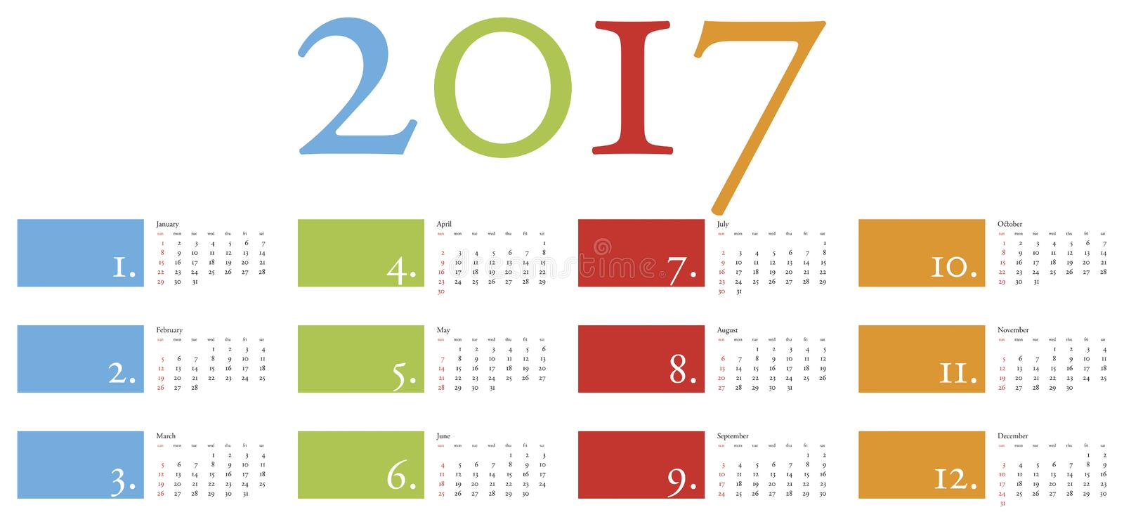 Colorful and elegant Calendar for year 2017 royalty free illustration