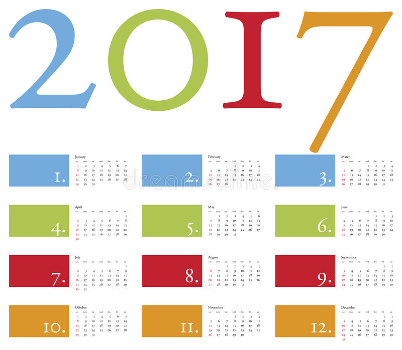 Colorful and elegant Calendar for year 2017 vector illustration