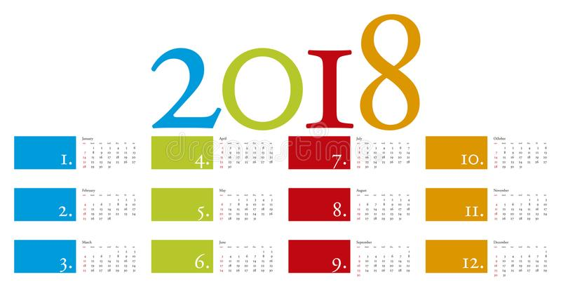 Colorful and elegant Calendar for year 2018 royalty free illustration