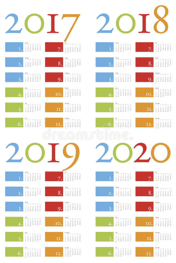 Colorful and elegant Calendar for years 2017, 2018, 2019 and 2020 vector illustration