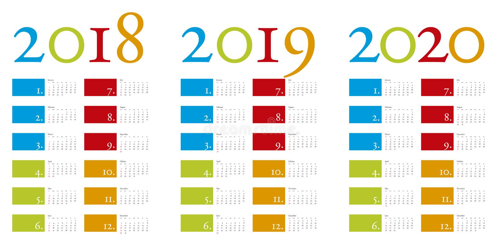 Colorful and elegant Calendar for years 2018, 2019 and 2020 vector illustration