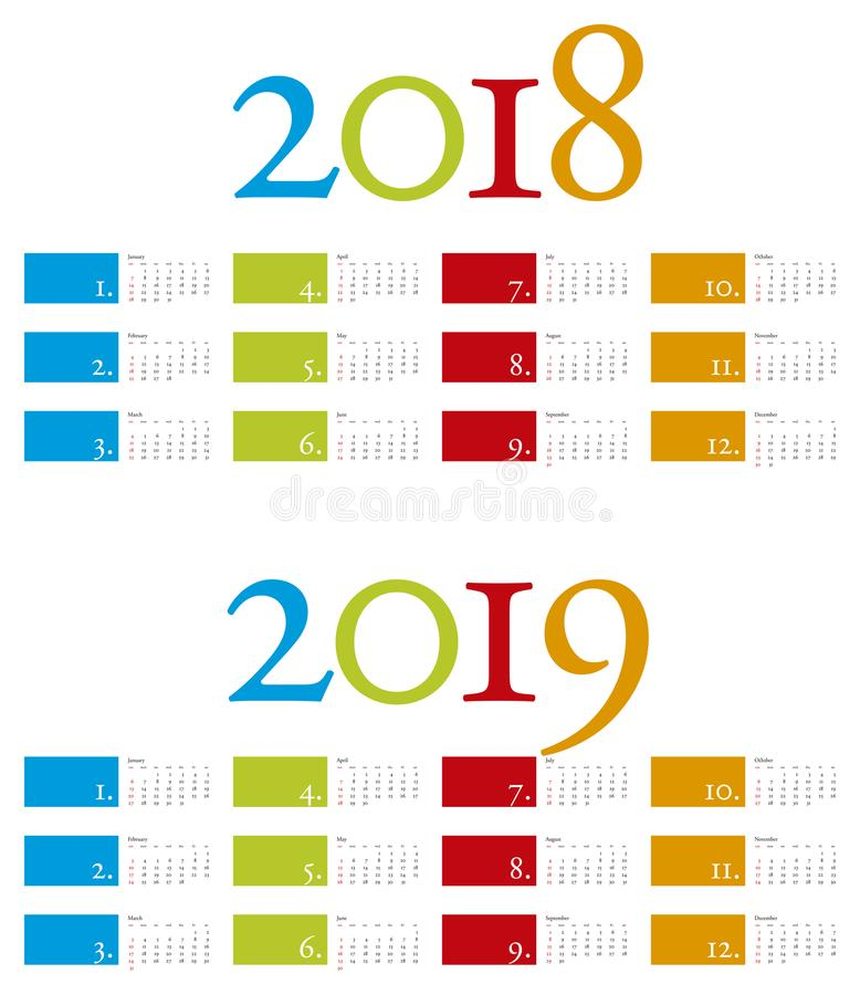 Colorful and elegant Calendar for years 2018 and 2019 royalty free illustration