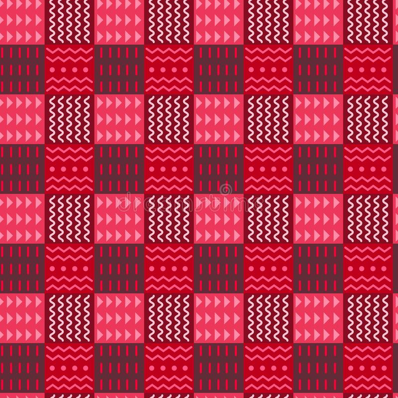 Colorful elements of tribal checkered seamless pattern, divided into ornaments squares with red colors halftone, ethnic royalty free illustration
