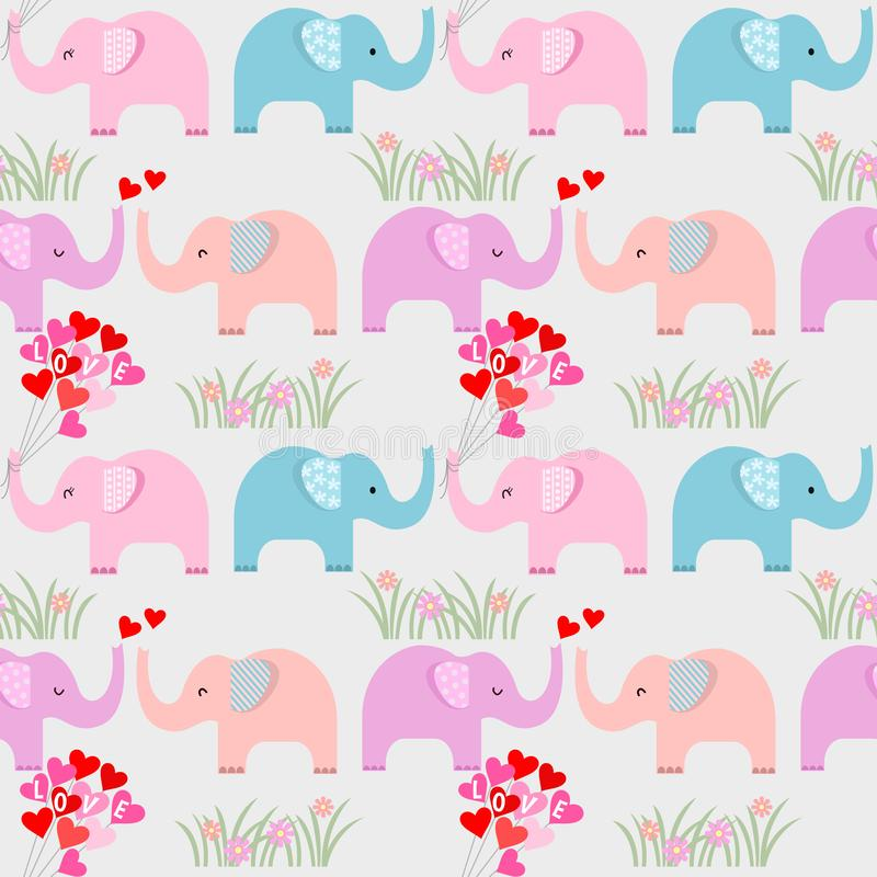 Colorful elephant with heart shape balloon pattern. royalty free illustration