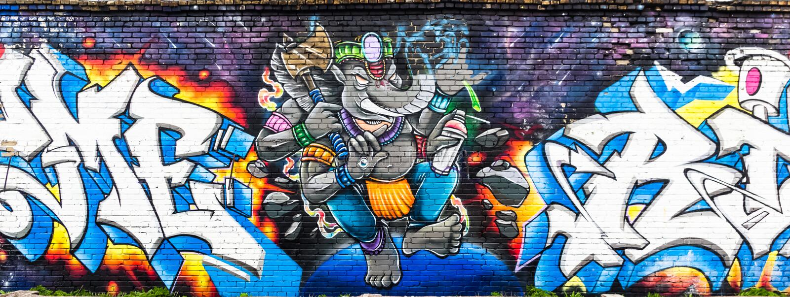 Colorful elephant street art mural on the wall in Tallinn, Estonia royalty free stock images