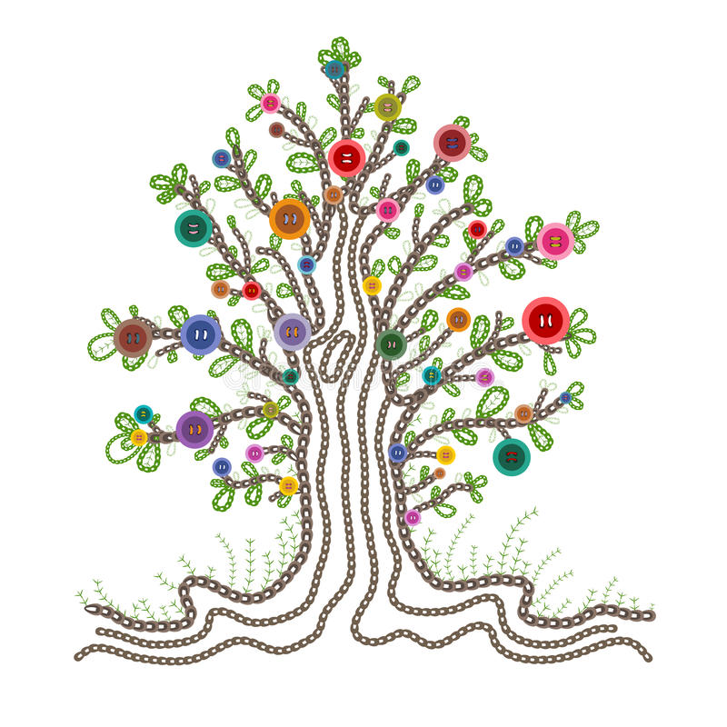 Download Colorful Embroidered Tree With Buttons Fruits Stock Vector - Image: 32091695