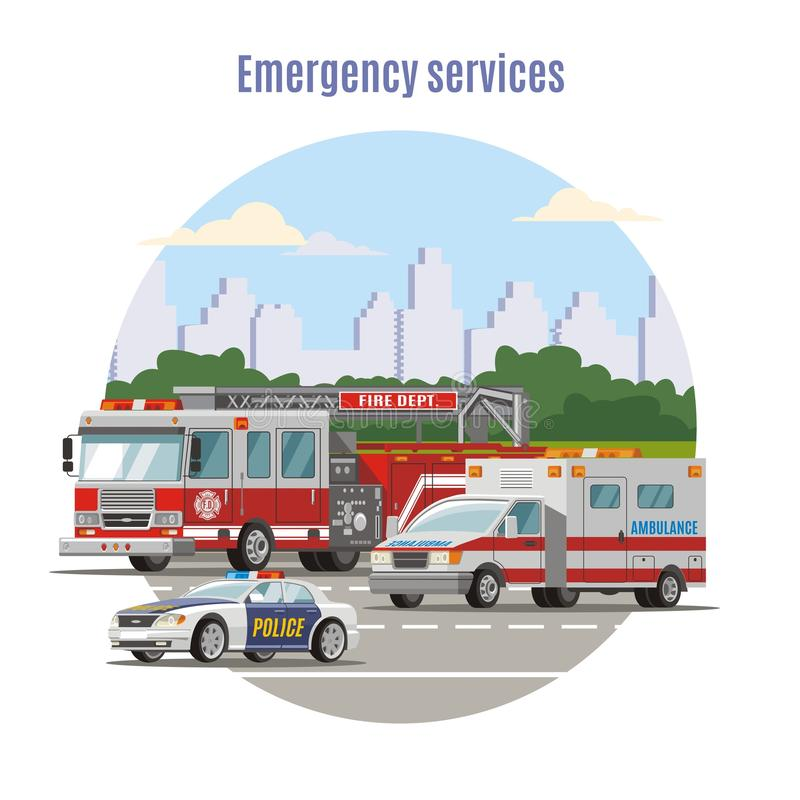 Colorful Emergency City Transport Concept. With fire engine ambulance and police cars on road vector illustration vector illustration