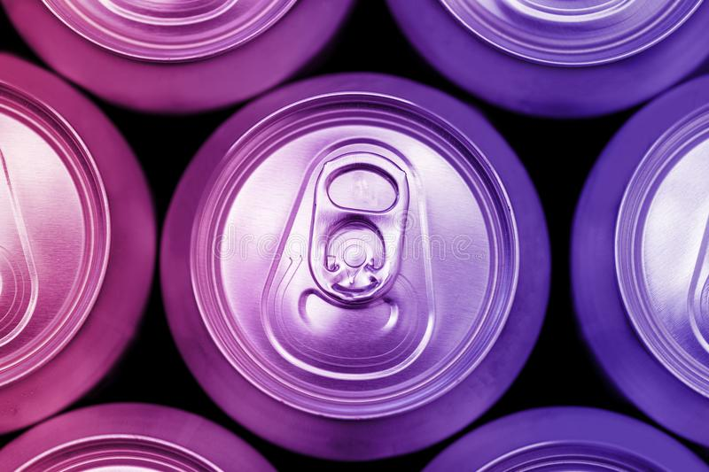 Colorful energy soda drinks cans overhead. View royalty free stock photo