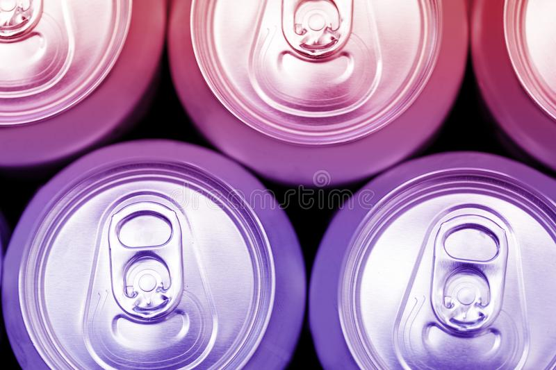 Colorful energy soda drinks cans overhead. View stock images