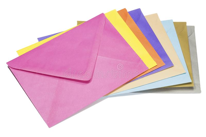 Colorful envelopes stock photo