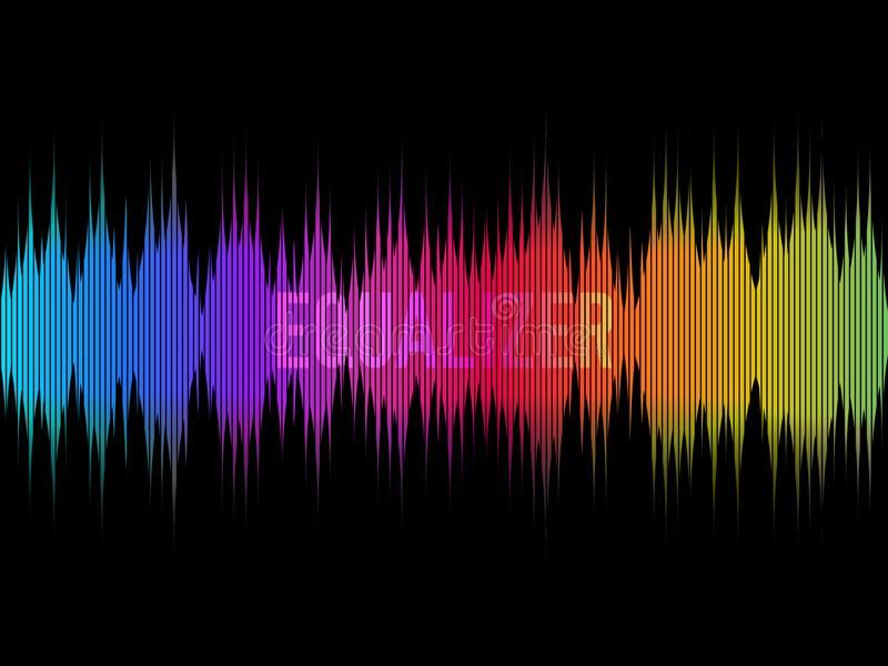Colorful equalizer on dark background. Rainbow waves. Color music concept. Waveform design. Visualization of sound. Vector illustration stock illustration