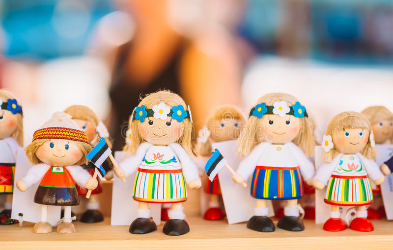 Colorful Estonian Wooden Dolls At The Market. Colourful Estonian Wooden Dolls At Local Market. Dolls Are The Most Popular Souvenirs From Tallinn And Symbol Of royalty free stock images