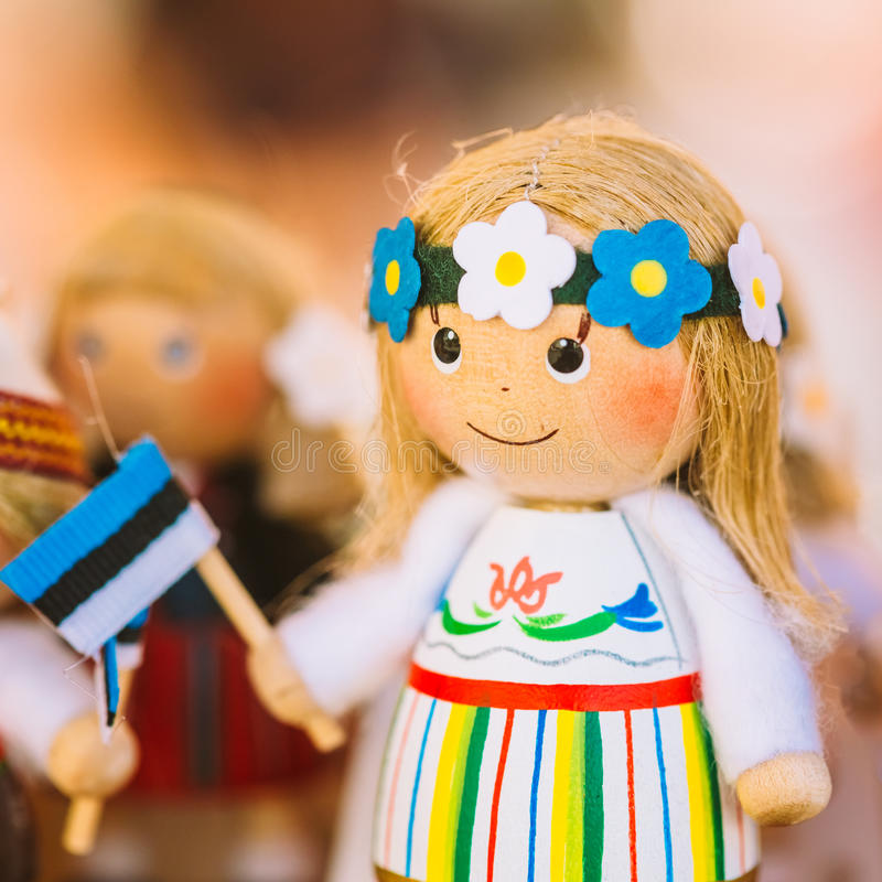 Colorful Estonian Wooden Dolls At The Market. Dolls Are The Most Popular Souvenirs From Tallinn And Symbol Of Country's Culture royalty free stock images