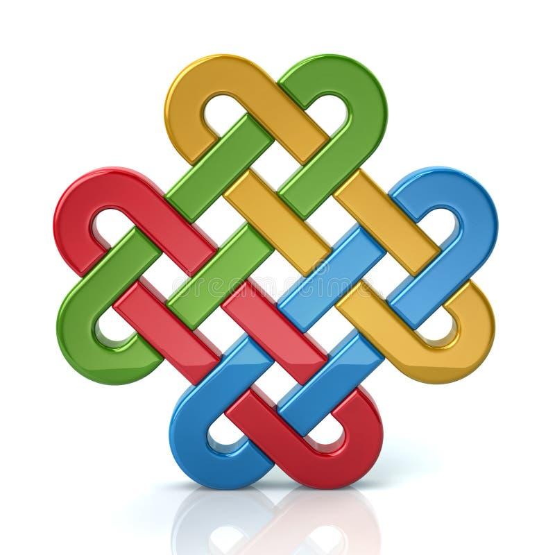 Colorful eternal knot. 3d illustration of colorful eternal knot vector illustration