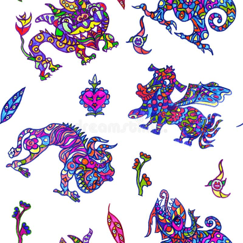 Ethnic ornament mythical monsters couple inspired by fusion of Ukrainian, Indian and Mexican traditional motifs. Colorful ethnic ornament mythical monsters royalty free illustration