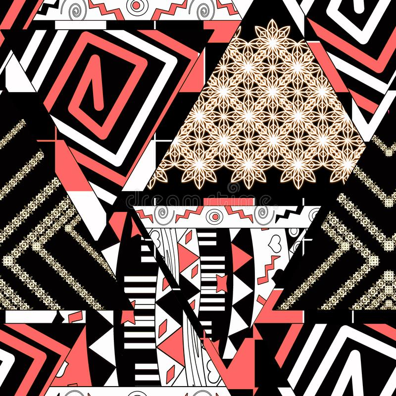 Colorful ethnic seamless pattern . patchwork. Beige, red, white ornament on black background. vector illustration