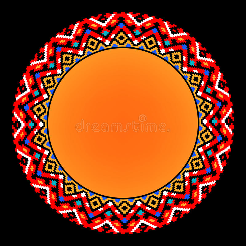 Colorful ethnic sun geometric aztec circle ornament, vector frame stock illustration