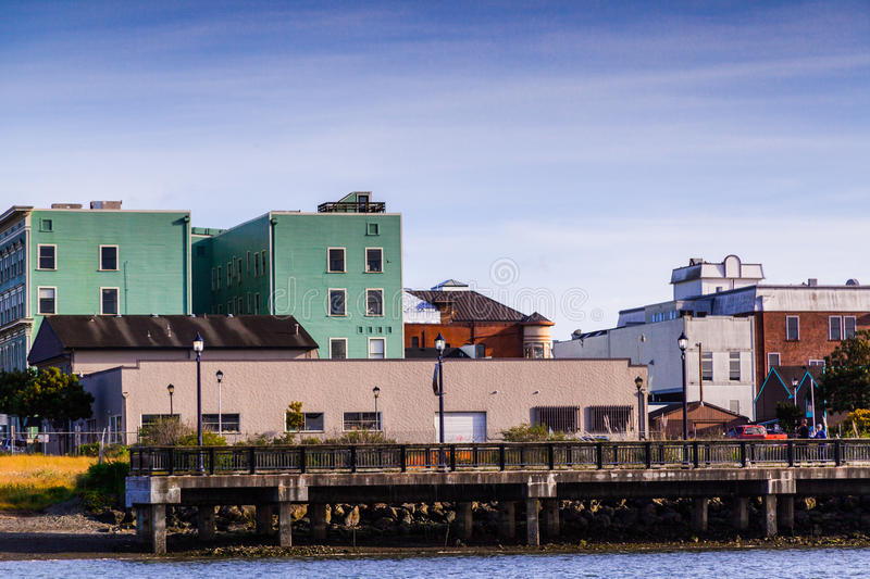 Colorful Eureka downtown. Colorful building in the Eureka waterfront and old downtown area. Eureka California stock photo