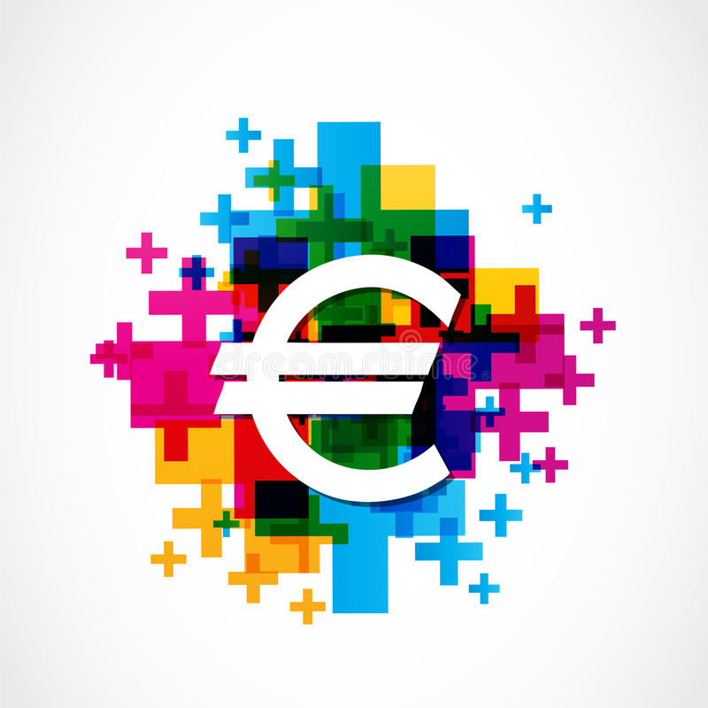 Colorful euro sign