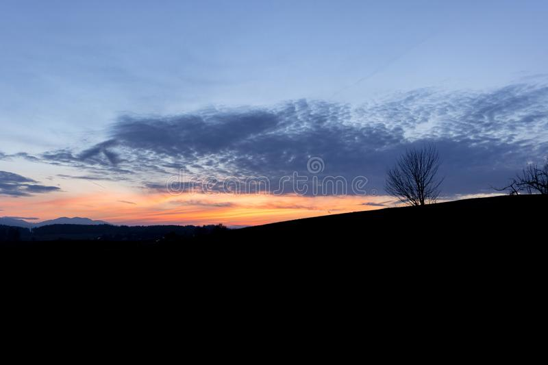 Colorful evening sky while hiking in Bavaria royalty free stock photography
