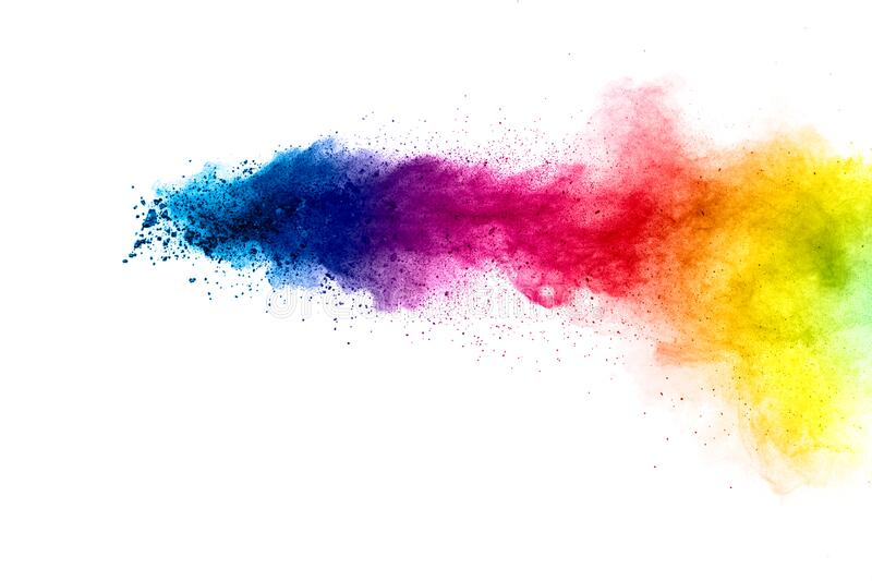 Colorful explosion for Happy Holi powder.Abstract background of color particles burst or splashing royalty free stock photo