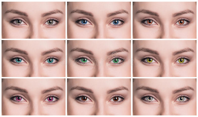 Colorful eyes collage close-up stock images