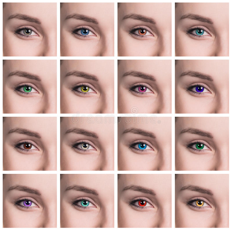 Colorful eyes collage close-up royalty free stock photos