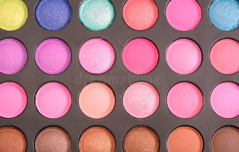 Colorful eyeshadow palette. Decorative colorful eyeshadow set , close up shot royalty free stock photos