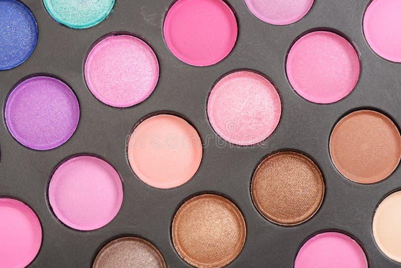 Colorful eyeshadow palette. Decorative colorful eyeshadow set , close up shot stock image