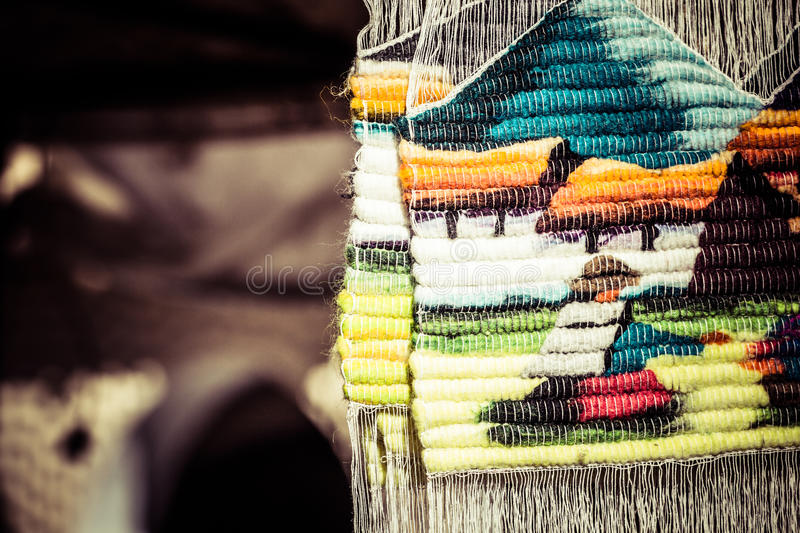 Colorful Fabric at market in Peru, South America royalty free stock image