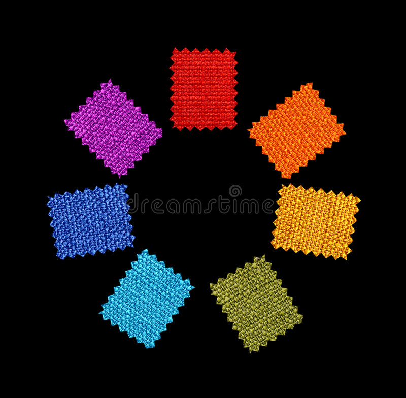 Colorful fabric patterns stock image