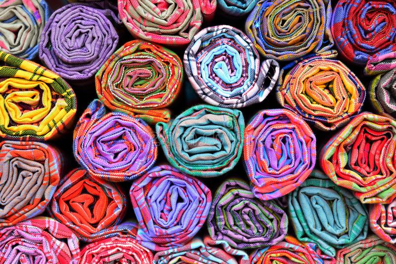 Colorful fabric rolls royalty free stock photography