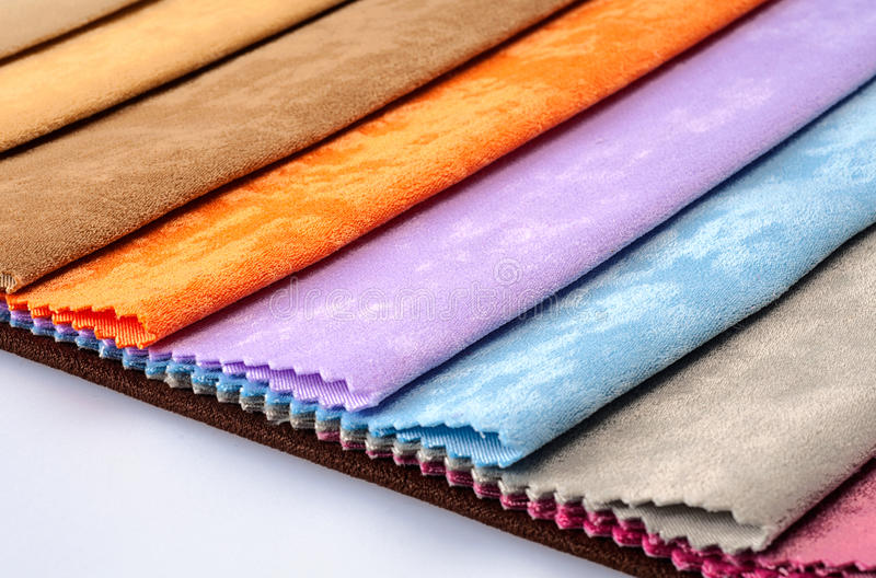 Colorful fabric swatches. In the studio royalty free stock photo