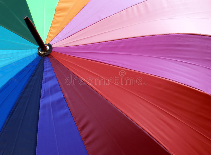 colorful beach umbrella background, close up texture of vibrant color nylon fabric parasol with concentric radius pattern stock photography